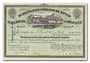 English: A stock certificate for the Burlingto...
