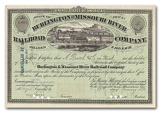 Burlington and Missouri River Railroad - Image: Burlington Missouri River Railroad Burlington stock certificate