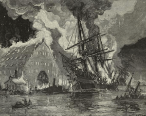 3rd Regiment Massachusetts Volunteer Militia - The USS Merrimack burning during the destruction of the Norfolk Navy Yard by Union troops, including the 3rd Massachusetts