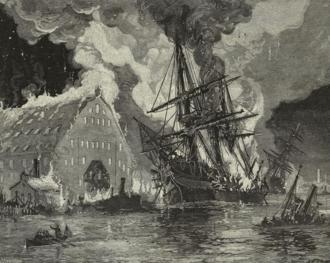 3rd Regiment Massachusetts Volunteer Militia - The USS Merrimack burning during the destruction of the Norfolk Navy Yard by Union troops, including the 3rd Massachusetts