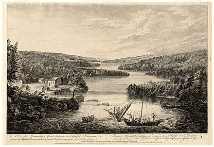 British raid on French settlement of Miramichi (later called Burnt Church, New Brunswick), 1758 Burnt Church, c. 1768.jpg