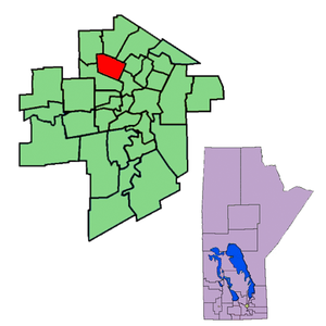 Burrows (electoral district) - The 1999-2011 boundaries for Burrows highlighted in red.