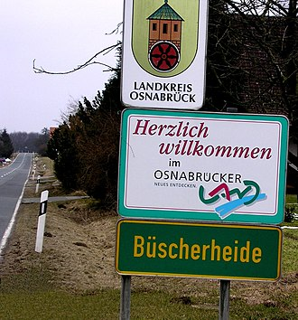 Osnabrück Land - Logo and motto of the region at the approach to Büscherheide.