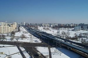Butovskaya Line - An above-ground section of the line in March 2009