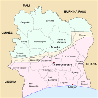 First Ivorian Civil War - A location map of the buffer zone (ZDC, « zone de confiance ») created in Côte d'Ivoire, spring 2007.