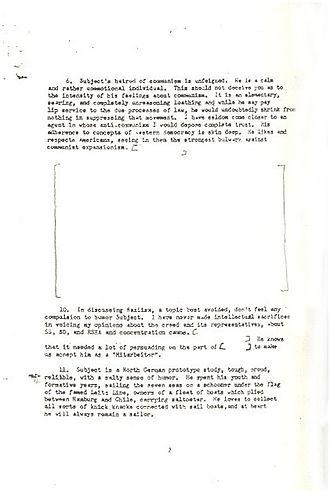 Theo Saevecke - Image: CIA Saevecke 8. Januar 1953 Seite 2