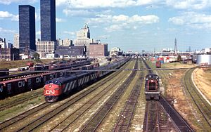 Via Rail - The Canadian National Railway's Super Continental departs Toronto's Union Station in 1970 on a westbound service to Vancouver's Waterfront station.