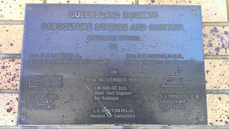 Caboolture railway station - Official opening plaque, 16 November 1985