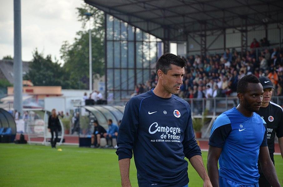 Photographie prise à l'occasion de la rencontre amicale opposant le Stade Malherbe de Caen au Stade rennais, le 9 juillet 2014 au stade Pierre-Comte de Vire. Ici, Julien Féret et Lenny Nangis.
