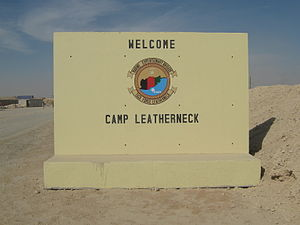 Camp Leatherneck - Original Camp Leatherneck sign at entrance