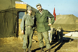 25th Canadian Infantry Brigade - Two soldiers from the Canadian contingent (Captain Claxton Ray and Lt. Green) pose for the camera, Korea