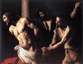 Toile montrant un condamné nu attaché à un poteau par ses bourreaux.