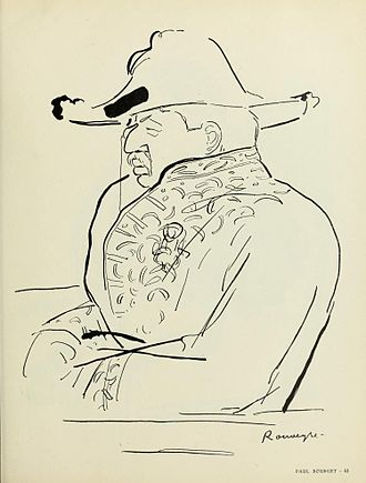 Paul Bourget - Caricature of Paul Bourget, by Dessins de Rouveyre, 1907.