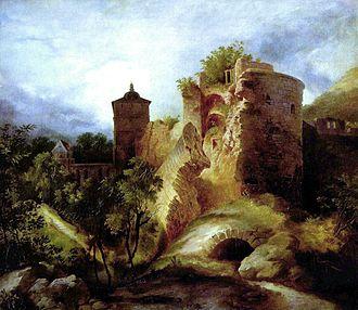 Joseph Freiherr von Eichendorff - Heidelberg Castle by Carl Blechen, 1829