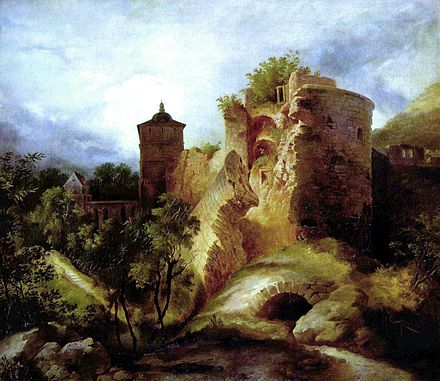 Heidelberg Castle, here shown in a painting by Carl Blechen, was destroyed by the French during the war of succession of the Electorate of the Palatinate Carl Blechen 003.jpg