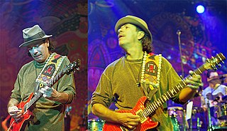 Two shots of Santana on stage