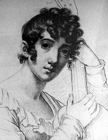 Caroline Bardua: Selbstbildnis mit Laute, 1822 (Quelle: Wikimedia)