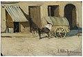 Carro y pueblo. Óleo sobre tabla. Eliseo Meifrén y Roig..jpg