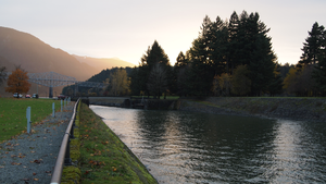 Cascade Locks, Oregon - Former locks on the Columbia River, with the modern Bridge of the Gods in the background
