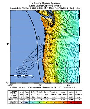 Cascadia subduction zone - Area of the Cascadia subduction zone (left) and a USGS scenario ShakeMap for a M9 event