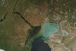 Caspian Depression - Caspian Depression and north Caspian Sea from space