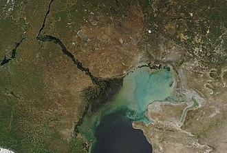 Caspian Depression - Caspian Depression and north Caspian Sea from space