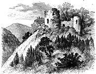 Engraving of a small ruined castle on top of a steep hill