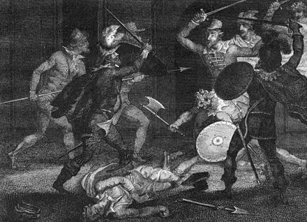 Percy and Catesby slain in attempting their escape from Holbeach, unknown artist Catesby and percy slain.jpg