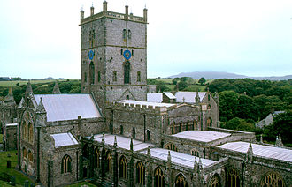 Religion in Wales - A monastic community was founded by Saint David at what is now St David's. The present building of St David's Cathedral was started in 1181.