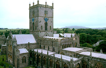 A monastic community was founded by Saint David at what is now St David's. The present building of St David's Cathedral was started in 1181.