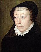 """Catherine de' Medici, by François Clouet. As a widow, Catherine wore a widow's cap or a French hood. At the back of her ruff stood a high black collar; and she wore a wide black shirt, pointed bodice, and enormous winged sleeves. """"Over all this flowed a long black mantle""""."""