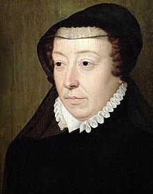 La regina madre Caterina in abito vedovile.