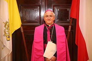 Ferraiolo - Archbishop Celestino Migliore, nuncio to Poland, wearing his purple ferraiolo