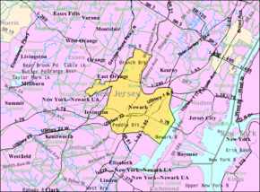 Census Bureau map of Newark, New Jersey