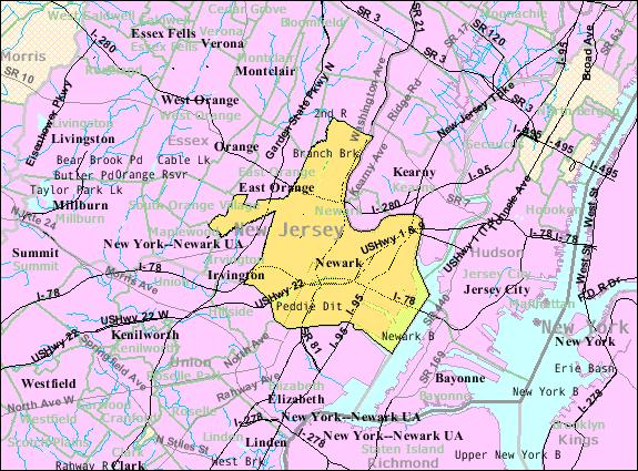 Census Bureau map of Newark, New Jersey Interactive map of Newark, New Jersey