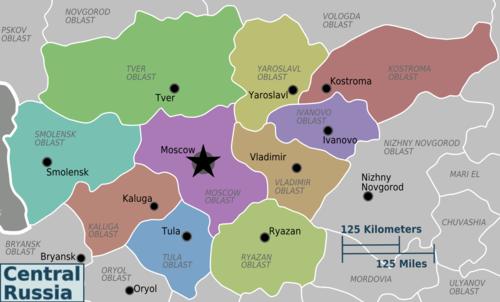 Cartina Russia Regioni.Russia Centrale Wikivoyage Guida Turistica Di Viaggio
