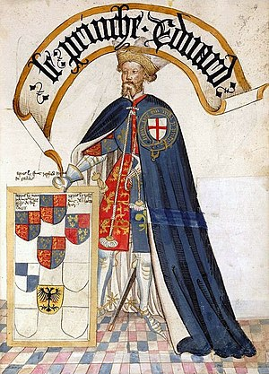 Edward the Black Prince - Edward, Prince of Wales as Knight of the order of the Garter, 1453, illustration from the Bruges Garter Book