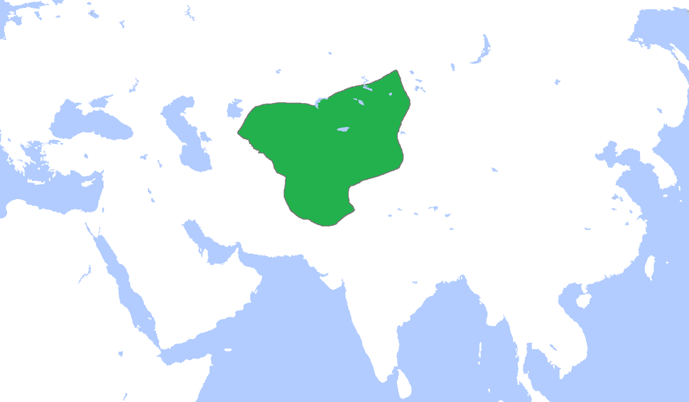 The Chagatai Khanate (green), c. 1300.