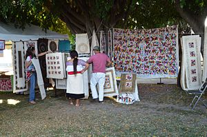 Tenango embroidery - Tenango and amate paper for sale at the Feria Maestros de Arte fair in Chapala, Jalisco