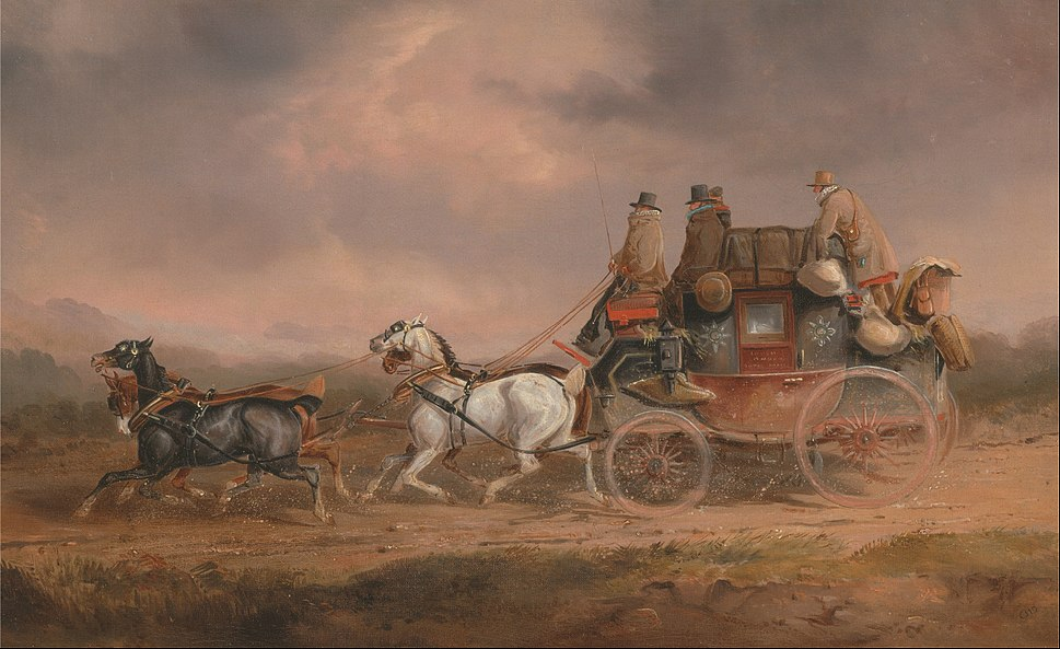 Charles Cooper Henderson - Mail Coaches on the Road- the Louth-London Royal Mail progressing at Speed - Google Art Project
