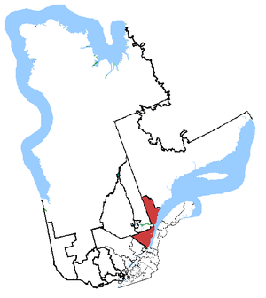 Beauport—Côte-de-Beaupré—Île d'Orléans—Charlevoix - Montmorency—Charlevoix—Haute-Côte-Nord in relation to other Quebec federal electoral districts