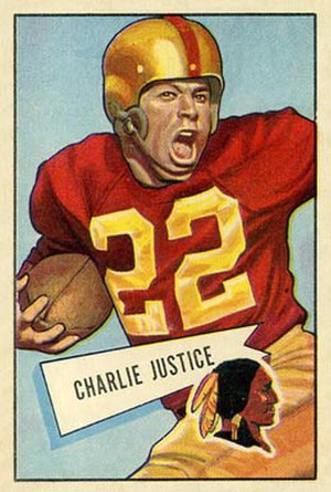 Charlie Justice (halfback) - Justice on 1952 Bowman football card