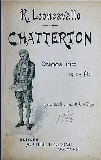 Chatterton (opera) - Cover of the libretto published in 1896