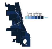 Democratic primary results by ward