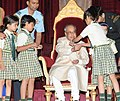 Children tying 'Rakhi' to the President, Shri Pranab Mukherjee, on the occasion of 'Raksha Bandhan', at Rashtrapati Bhavan, in New Delhi on August 18, 2016 (3).jpg