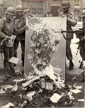 War of ideas - Book burnings in Chile following the 1973 coup that installed the Pinochet regime. Note the painting with a Che Guevara portrait being burned.