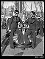 Chilean sailors posing on the deck of GENERAL BAQUEDANO, July 1931 (7154852564).jpg