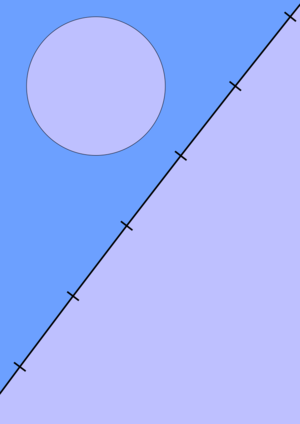 Chiliagon - A whole regular chiliagon is not visually discernible from a circle. The lower section is a portion of a regular chiliagon, 200 times as large as the smaller one, with the vertices highlighted.