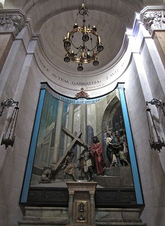 Church of the Condemnation - Interior view: Imposition of the Cross above the altar