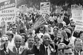 Civil Rights March on Washington, D.C. (Leaders of the march leading marchers down the street.) - NARA - 542003.tif
